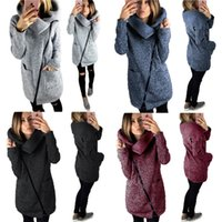 Wholesale women s crew collar jacket for sale - Group buy Women Side Zipper Coat Jacket High Collar Fleece Hoodies Sweater Autumn Winter Outwear Oversize Cardigan Sweatshirt Casual Jackets Coats Top