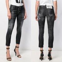 jeans preto quente das meninas venda por atacado-Mulher Negra Slim-Fit Biker Denim Calças 2019 Quente Afligido Solid Zip Bolso Denim Cotton Jeans Para Meninas