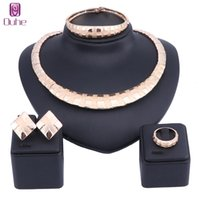 Wholesale bridesmaid jewelry sets color resale online - Fashion Dubai Necklace Earring Ring Jewelry Sets For Women Choker African Beads Jewelry Set Gold Color Bridesmaid Jewerly Sets C19021601