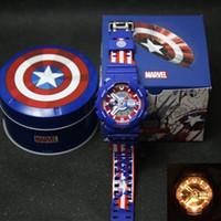 capitán de relojes al por mayor-Marvel serie del héroe del reloj del Capitán América Men Deportes Edición limitada 2019 Venta caliente de los relojes LED multifunción hombre de hierro con la CAJA