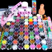 edelsteine acryl großhandel-78 Stücke Acryl Pulver Maniküre Nail art Kit Glitter für Nägel DIY Acryl Strass Glitter Nagel Tipps Edelsteine Dekoration Kit