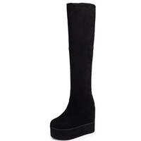 yüksek topuklu kışlık ayakkabılar toptan satış-Moxxy Uyluk Yüksek Çizmeler Süet Platformu Kış Çizmeler Kadın Diz Üzerinde Takozlar Yüksek Topuklu Sıcak Kürk Ayakkabı Kadın Uzun