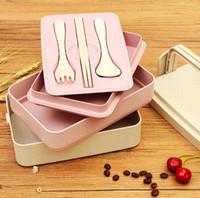 uygun yiyecek toptan satış-Üç Katmanları Öğrenci Öğle Yemeği Kutusu Açık Uygun Buğday Sapı Gıda Saklama Kapları Suşi Durumda Açık Gadgets CCA10863 10 adet