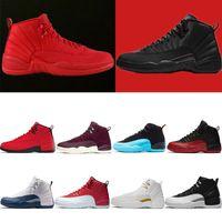 chaussures de basket-ball pour hommes noires achat en gros de-Chaussure de basket-ball pour hommes Hivérisé WNTR Gymnase rouge Michigan 12 12s College Marine Jeu de grippe le maître noir taxi blanc Baskets de sport taille 7-13