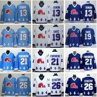 ingrosso jersey joe nordico nordico-Quebec Nordiques Jersey Hockey su ghiaccio 13 Mats Sundin 21 Peter Forsberg 26 Peter Stastny 19 Joe Sakic squadra colore Navy Blue Bianchi