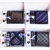 corbata de cuello de paisley pañuelo al por mayor-2019 Plaid Neck Tie Set corbata de la raya de los hombres corbata de seda Paisley British Business Tie Hanky Set accesorios del banquete de boda