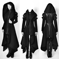 princesa abrigos mujeres al por mayor-Mujeres Steampunk gótico abrigos de invierno chaqueta de manga larga con cuello sombrero Cosplay capa negra Medieval Noble corte princesa Outwear