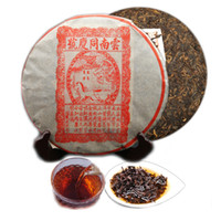 Wholesale cake tongs resale online - 357g Ripe Puer Tea Yunnan Tong Qing Hao Puer Tea Organic Pu er Oldest Tree Cooked Puer Natural Puerh Black Puerh Tea Cake