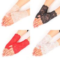 weiße baumwollspitze handschuhe großhandel-Sommer Semi Finger Handschuhe im Freien fahren Anti UV dünne Spitze Baumwolle schwarz und weiß einfarbig Mode Handschuh 3 2cz hh