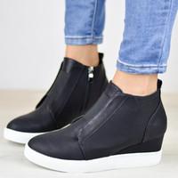 kayma sürüngenleri toptan satış-Kadın Platformu Ayak Bileği Çizmeler Rahat Sneakers Takozlar Creepers Flats Ayakkabı Üzerinde Kayma Kadın Patik Boyutu 35-43