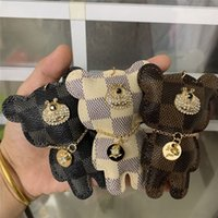 Wholesale keychains for lovers resale online - Brand Design Bear Key Chains Ring Rhinestone Key Rings PU Leather Bear Car Keys Jewelry Bag Charm Animal Keychains Holder for Women Man