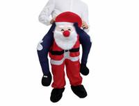 schöne rosa puppen groihandel-Weihnachtsmann Carry Me-Maskottchen-Kostüm-Fahrt auf Lustige Party Weihnachten Halloween Piggy Back Kleid Adult Größe