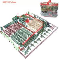 ingrosso figurine di azione plastica-488PCS Military Base Army Men - World War Set Boys Gifts