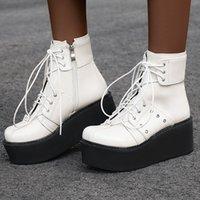 коричневые зашнуруйте клин сапоги оптовых-Черный Белый Коричневый Высокие платформы ботильоны Женщины Плюс большой размер Осень загрузки Мода клинья каблуки обувь женщина ручной работы Lace-Up 46