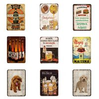 Wholesale tin signs decor resale online - Pet Sign Metal Beer Animal Tin Sign Vintage Plates For Wall Art Cat Dog Retro Home Decor X20CM Hanging Sticker Cat Tin Sign