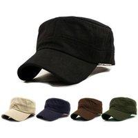 eski ordu şapkaları toptan satış-Düz üst şapka Klasik Düz Vintage Ordu moda Harbiyeli Tarzı Pamuk Kap Şapka Ayarlanabilir düz üst öğrenci moda rahat şapka # 17433