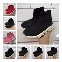 Wholesale kids toe socks for sale - Group buy 2020 Kids Fashion Luxury Paris Boys Gilrs Speed Trainer Sock Shoes Triple Black White Red Oreo Stretch Knit Designer Toddler Sneakers