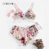 çiçek iç çamaşırı seti toptan satış-COLROVIE Renkli Dantel Trim Çiçek Baskı Saten Seksi Kadın Lingerie Set 2018 Boho Kablosuz Intimates Femme Sutyen Iç Çamaşırı Set