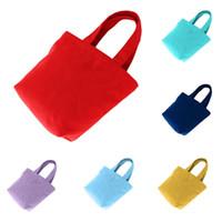 Wholesale lunch bags online - Women brief canvas cotton handbag one shoulder solid color casual bag colorful cloth bag lunch cosmetic storage bag LJJQ123