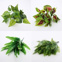 Wholesale wall floor photography prop resale online - Artificial Plants Flowers Green Leaves DIY Plants Wall Accessories Wedding Home Garden Decoration Photography Props