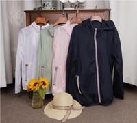 erkek uzun ceket satışı toptan satış-Sıcak satış marka M yeni kadın ve erkekler çabuk kuruyan uzun kollu fermuar cilt giysi güneş koruyucu giysi kadın kapüşonlu Tişörtü coat