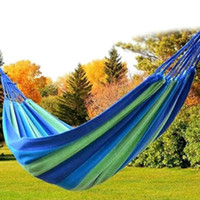 Wholesale tent beds resale online - Strong Outdoor Picnic Garden Hammock Hang Bed Portable Travel Camping Swing Canvas Stripe Hang Bed Furniture Hammock