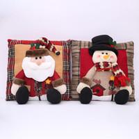 almohada de navidad al por mayor-Funda de almohada de Navidad Muñecas 3D Árbol de Navidad Copo de nieve Funda de cojín de Papá Noel Funda de almohada Festival Decoración del hogar EEA458