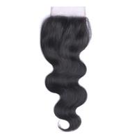 saç sakalları bakire üst kapatma toptan satış-% 100 İşlenmemiş Brezilyalı Virgin İnsan Dantel Üst Kapatma 4x4 Vücut Dalga Remy Saç Closures