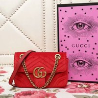 Wholesale two tone wavy weave online - Wavy velvet embroidered chain shoulder bag red ICONIC BAGS SHOULDER BAG TOTES CROSS BODY BUSINESS MESSENGER BAGS