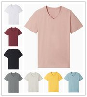 Wholesale blank pink t shirt resale online - T Shirts Men Summer Contracted Fashion High Quality Blue Gray Pink cotton V neck Short Sleeve Blank T Shirt S XL
