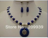 ingrosso orecchini blu della collana della perla-Gioielleria gioielli ciondolo in giada bianca blu perla orecchini gioiello