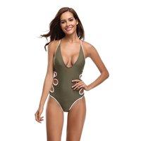 maiô verde do exército venda por atacado-New Backless Monikini Mulheres Um Pedaço Swimsuit Sólidos Exército Verde Swimwear Cruz de Volta Bandage Maiô S-XL Um pedaço de Biquíni