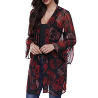 kimonos elegantes al por mayor-Mujeres Vintage Kimono Cardigan para mujer de verano elegante cráneo Kimono Blusa ocasional manga de la llamarada Tops largos abrigo ropa para mujer