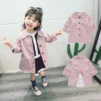 coreano estilo jaqueta primavera menina venda por atacado-Coreano Primavera Outono criança Meninas Brasão Jacket crianças Casacos corta-vento solto Trench Casacos Crianças menina Trench