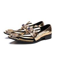 ingrosso scarpe da sera in pelle-Scarpe piatte da uomo formali fatte a mano alla moda Scarpe da festa di nozze da uomo in pelle con borchie Zebra con borchie nere 37-46