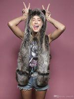 conjuntos de bufanda de invierno de piel sintética al por mayor-9 estilos Cálido invierno Faux Animal Fur Hat Fluffy Plush Cap Dint Hood bufanda Mantón con guantes Set Leopard Panda Hat bufanda Set