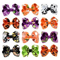 Wholesale pink hair girls resale online - Baby Bow Barrettes Design Cartoon Printed Hallween Hair Bows Kids Bow Headwear Baby Headbands Girls Hair Clips