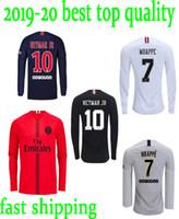 camisetas de fútbol de tailandia negro rojo al por mayor-camiseta manga larga negro blanco rojo maillot camisetas de fútbol de Tailandia Maillot de foot MBAPPE CAVANI LS 2019 kits de fútbol camiseta de fútbol
