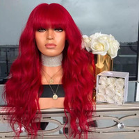 Wholesale blue wig high quality resale online - Top Quality High Temperature Fiber Hair Red Long Body Wave Synthetic Lace Front Wig For White Women Halloween Cosplay Party Wigs With Bangs