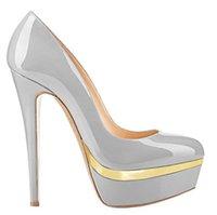 дамы красивые насосы оптовых-Туфли на каблуках с высокой платформой Резиновая подошва с круглым носком для женщин T-show Pumps Nightpub Sexy New Party красивые туфли США размер 7 большой