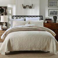 königin baumwoll-bettdecken quilts großhandel-100% baumwolle gesteppte solide quilt set 3 stücke hohe qualität kurze stil könig queen size bettdecke dachdeckel 230 * 250 cm größe