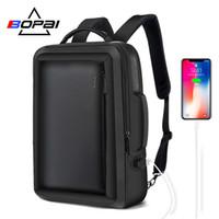 Wholesale backpack professional resale online - Bopai Best Professional Men Business Backpack Travel Waterproof Slim Laptop Backpack School Bag Office Men Backpack Bag Leather Y19061004