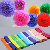 Wholesale tissue paper flowers garland resale online - Holiday Supplies inch cm Fluffy Tissue Paper Pom Poms Hanging Rose Flower Balls Garlands Wedding Baby Shower Party Decoration