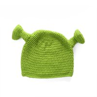 Wholesale top hat online - Shrek Funny Beanie Knit Hat Green Monster Weave Artifact Manual With Ears Halloween Gift Winter xz F1