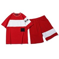 erkek modası için spor giyim toptan satış-Erkekler Kısa Kollu Kazak Casual koşucu Pantolon için Womens Moda Eşofman Mektupları Nakış Yaz Spor O-Boyun sportsuit Takımları