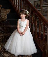 Wholesale princesses dresses for little girls resale online - New Cute White Tulles Princess Ball Gowns for Wedding Party Little Kids Flower Girls Dresses Puffy Tulle Skirt Sleeveless Dancing Dresses