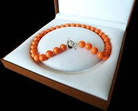 ingrosso perle originali per il matrimonio-Rare Huge 12mm Genuine South Sea Orange shell collana di perle lunga catena maglione da sposa Regalo delle donne parola gioielli in argento 925