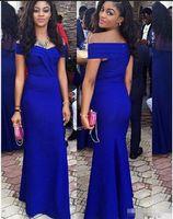 kat uzunluğu elbise kırmızı halı toptan satış-Royal Blue Kapalı Omuz Denizkızı Balo Abiye Pileleri Kat Uzunluk Ucuz Abiye Giyim vestido de noche Kırmızı Halı Parti Elbise