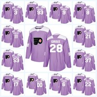 Youth Claude Giroux Philadelphia Flyers Purple Fight Cancer Travis Konecny  Shayne Gostisbehere Ivan Provorov Jakub Voracek Hockey Jersey 233135ec7