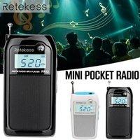 pocket-audio-player großhandel-PR12 Mini-Taschenradio FM AM Digitaler Tuning-Audioempfänger 9K 10K MP3-Musik-Player Akku Tragbares Radio